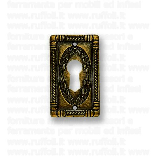 Bocchetta chiave per mobili antichi - Ottone anticato 5038B6