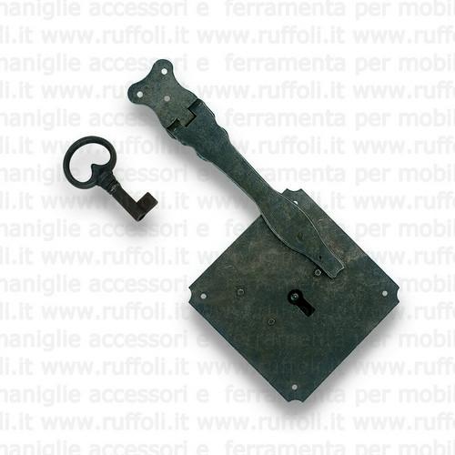 Serratura per mobili antichi - Ferro anticato MG9569
