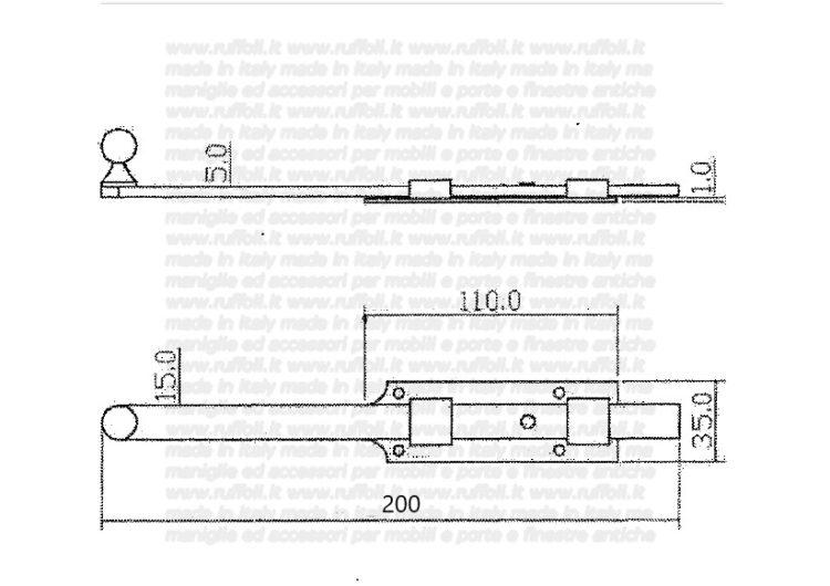 11497 catenaccio verticale leggero ferro invecchiato