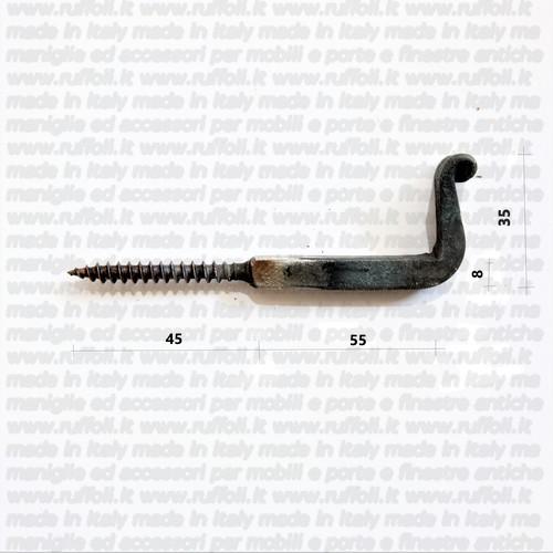 gancio pesante per targhe- ferro forgiato a mano-100 mm