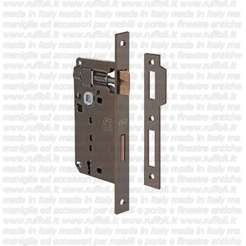 serratura per porte-patent-bronzata-piastra-contropiastra-rettangolare